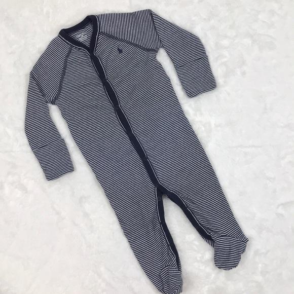 aafb5e956 Ralph Lauren Navy Striped Footed Pajamas. M_5bdcae1a04e33d4a49bff08b